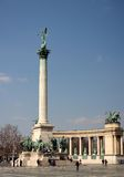 Heroes` Square. The largest square in Budapest with Millenium Monument and 21 other statues, UNESCO monument Stock Photography