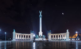 Heroes Square, Millennium Memorial at night, Budapest. Hungary Royalty Free Stock Images