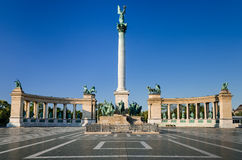 Heroes' Square, Millennium Monument, in Budapest. Heroes' Square, Hosok Tere or Millennium Monument, one of the major attraction of Budapest, with 36 m high Stock Photos