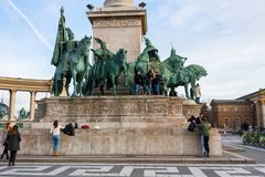 Heroes` Square the Millennium monument in Budapest, Hungary, 2018 stock image