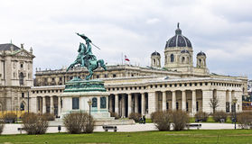 Heroes' Square at Vienna. Heroes' Square with Castle gate and equestrian  statue of Archduke Charles of Austria at Vienna, Austria Royalty Free Stock Photo