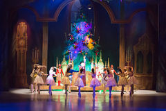 Heroes of tale The Nutcracker at the Christmas Tree Stock Photo