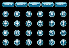 Heroes web buttons. Vector glass web buttons- blue and white royalty free illustration