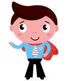Cartoon superhero businessman in red cape Stock Images