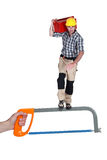 Heroic construction worker Stock Photography