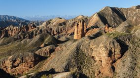 Heroic magical ice ditch Danxia. Dangou Scenic Area of Binggou is an important part of Zhangye Danxia National Geological Park. It is mainly distributed in Sunan royalty free stock photos