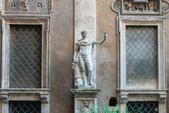Heroic Romanesque Statue in the Ancient Palazzo Mattei di Giove Courtyar Royalty Free Stock Image
