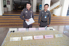 Heroin arrest. YALA, THAILAND - JANUARY 31: Police Major General give information for 5 kg. Heroin arrest on Jan 31, 2014 at Southern Border Provinces Police Stock Photo