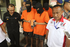 Heroin dealers. Were arrested by police in the city of Solo, Central Java, Indonesia Stock Photo