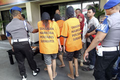 Heroin dealers. Were arrested by police in the city of Solo, Central Java, Indonesia Royalty Free Stock Photography