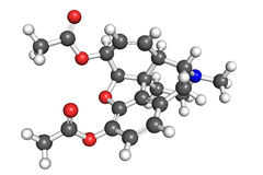 Heroin molecule. Heroin diacetylmorphine molecule, ball and stick model. Atoms are coloured according to convention Stock Images