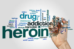 Heroin word cloud. Concept on grey background Stock Photo