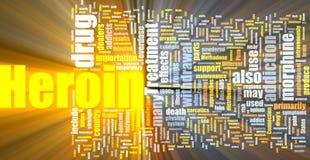 Heroin word cloud glowing Royalty Free Stock Image