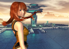 Heroine against a futuristic dock. 3d render of a futuristic heroine against a science fiction themed port Stock Photos