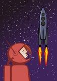 Heroisk astronaut- och flygutrymmeraket Royaltyfri Bild