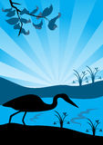 Heron. Silhouette of a lonely heron on a bank early in the morning, vector illustration Royalty Free Stock Photography