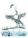 Heron Bird Catching Fish. Illustration with heron bird on bog, catching fish. Black ink and color pencils on paper painting drawn by myself Stock Photos