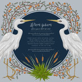Heron bird and and swamp plants. Marsh flora and fauna. Design for banner, poster, card, invitation and scrapbook. Botanical vector illustration in watercolor Stock Image