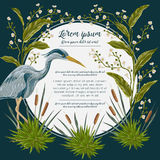 Heron bird and and swamp plants. Marsh flora and fauna. Design for banner, poster, card, invitation and scrapbook. Botanical vector illustration in watercolor Royalty Free Stock Photo