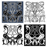 Heron birds with celtic knot patterns Stock Photo