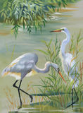 Heron birds watercolor vector illustration Stock Photo