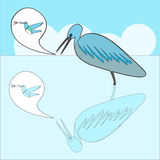 heron cartoon with speech bubble Royalty Free Stock Photo