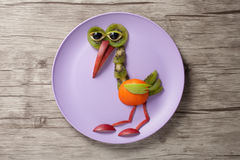Heron made of fruits Stock Image