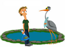 Heron and pond. Illustration of a man with fish and a hungry heron by a pond vector illustration