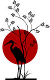 Heron silhouette with giant moon Royalty Free Stock Photography