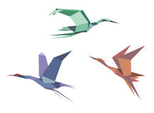 Herons, cranes and storks. In origami style isolated on white background Royalty Free Stock Photo