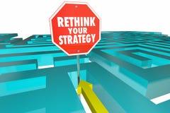 Heroverweeg Uw Strategie Nieuw Plan Maze Sign Royalty-vrije Illustratie