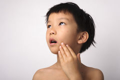 Herpes på pojkemun Fotografering för Bildbyråer