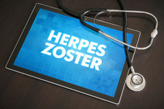 Herpes zoster (infectious disease) diagnosis medical concept. On tablet screen with stethoscope Stock Images