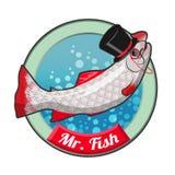 Herr Fische mit Hut stock abbildung