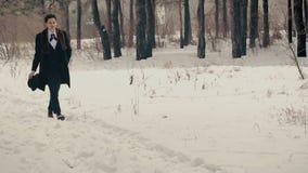 Herr läuft gerade die Snowy-Natur durch stock footage