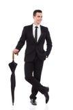 Herr mit einem Regenschirm Lizenzfreies Stockfoto