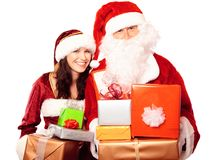 Herr And Mrs Santa Claus With Gifts Stockfotografie