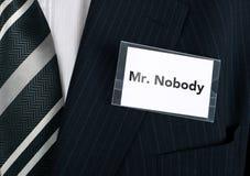 Herr. Niemand Lizenzfreie Stockfotografie