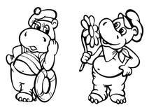 Herr- och fruflodhäst på datum stock illustrationer