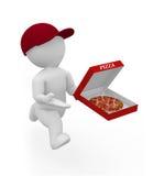 Herr Smart Guy är en pizzapojke Arkivfoton