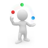 Herr Smart Guy, das mit farbigen Bällen jongliert Stockfoto