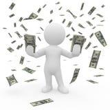 Herr Smart Guy in einem Regen des Geldes lizenzfreie abbildung