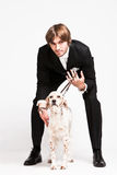 Herr und Hund Stockfotos