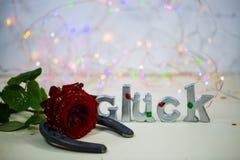 Herradura con la rosa del rojo, encanto de buena suerte, cumpleaños Imagen de archivo libre de regalías
