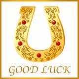 Herradura del oro para la buena suerte Imagen de archivo libre de regalías