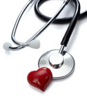 Herramienta de la medicina del cuidado médico del corazón del estetoscopio Fotos de archivo libres de regalías