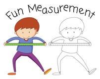 Herramienta de la medida de la tenencia del muchacho del garabato ilustración del vector
