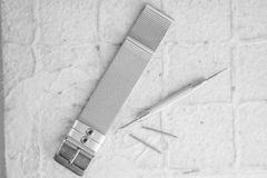 Herramienta del kit de accesorios de la reparación del reloj Fotos de archivo
