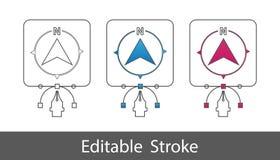 Herramienta del norte de la dirección - esquema diseñó el icono - movimiento Editable - ejemplo del vector - aislado en el fondo  libre illustration