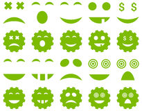 Herramienta, engranaje, sonrisa, iconos de la emoción ilustración del vector